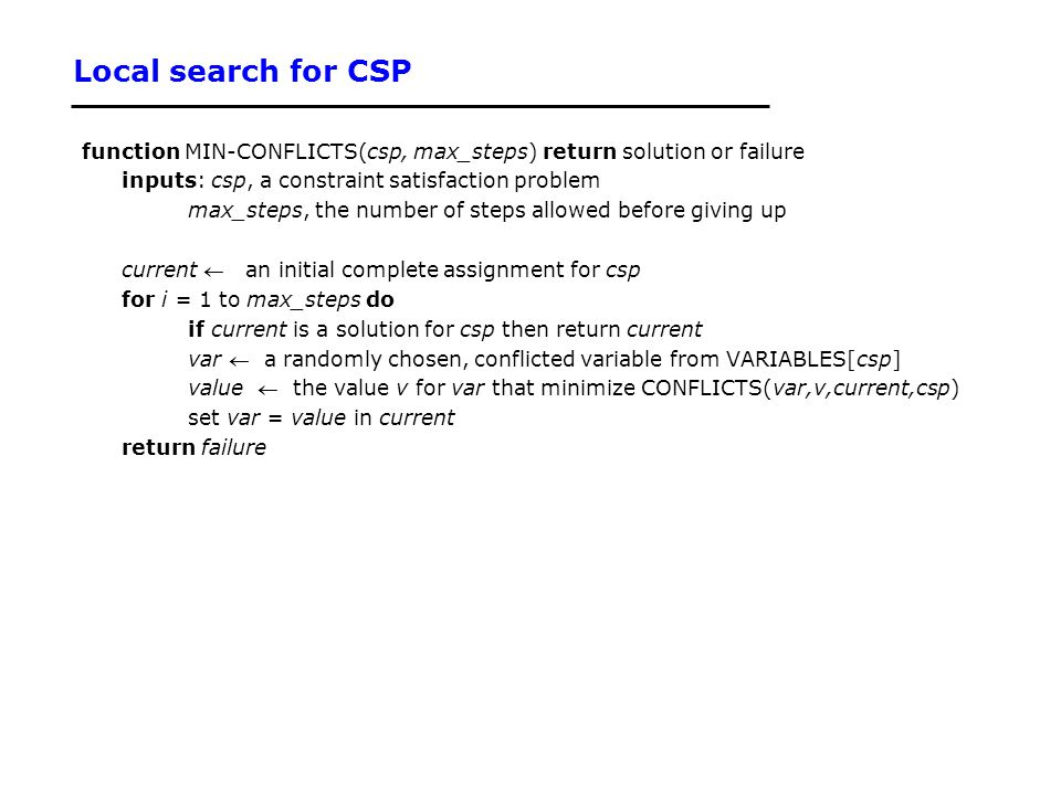 Local search for CSP function MIN-CONFLICTS(csp, max_steps) return solution or failure. inputs: csp, a constraint satisfaction problem.