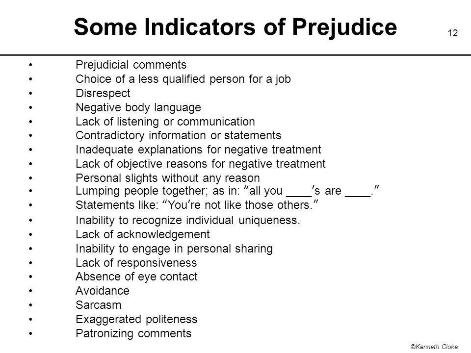 Some Indicators of Prejudice