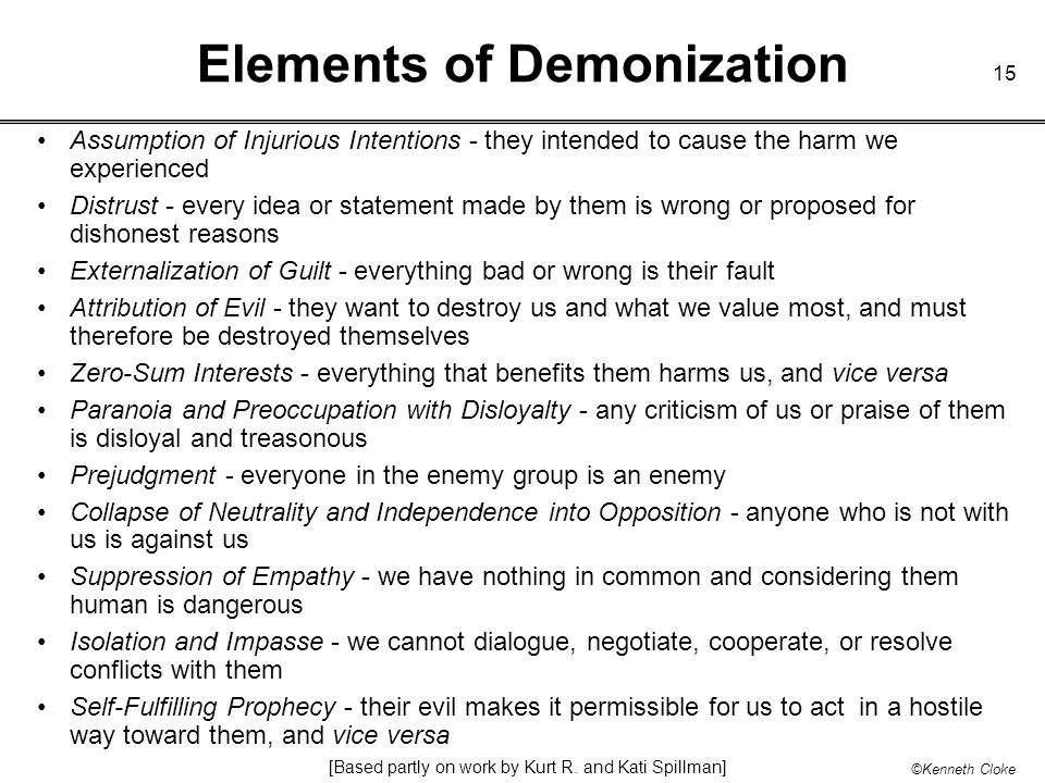 Elements of Demonization