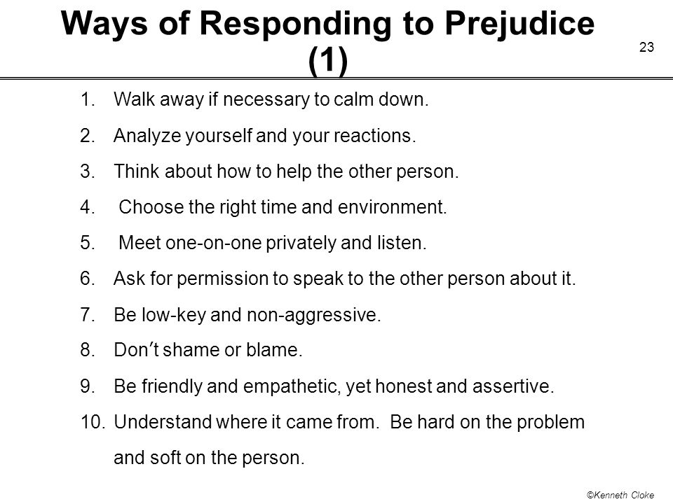 Ways of Responding to Prejudice (1)