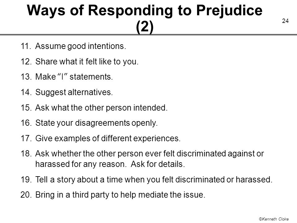 Ways of Responding to Prejudice (2)