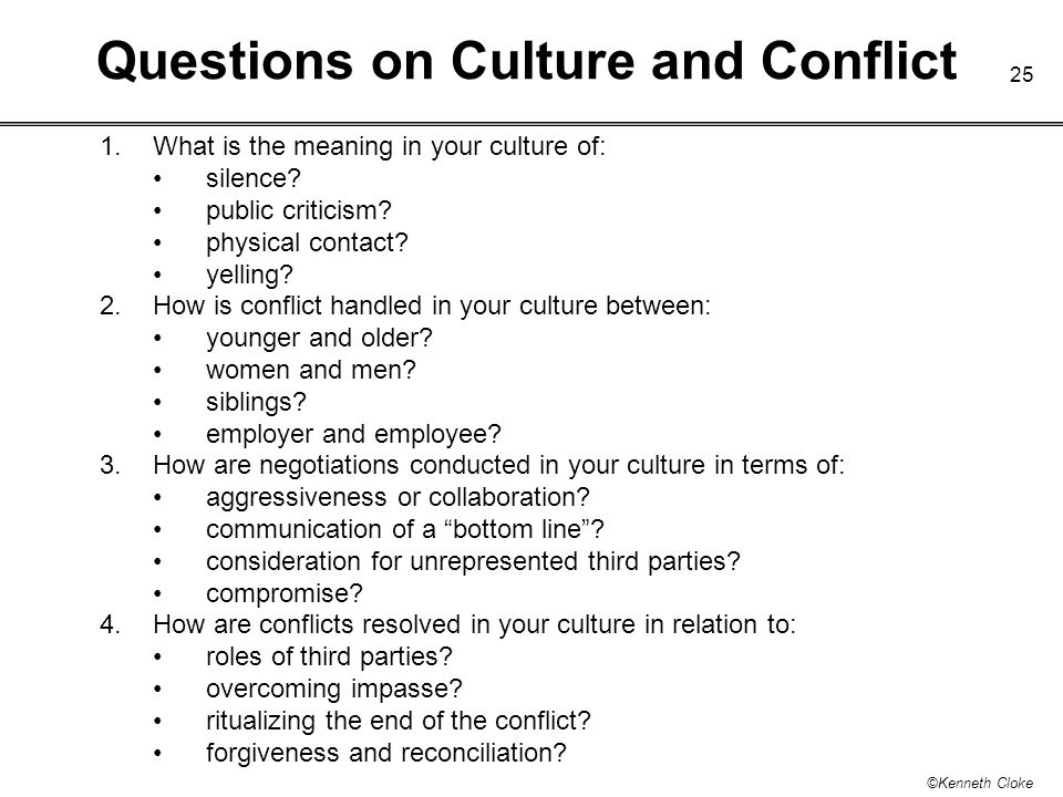 Questions on Culture and Conflict