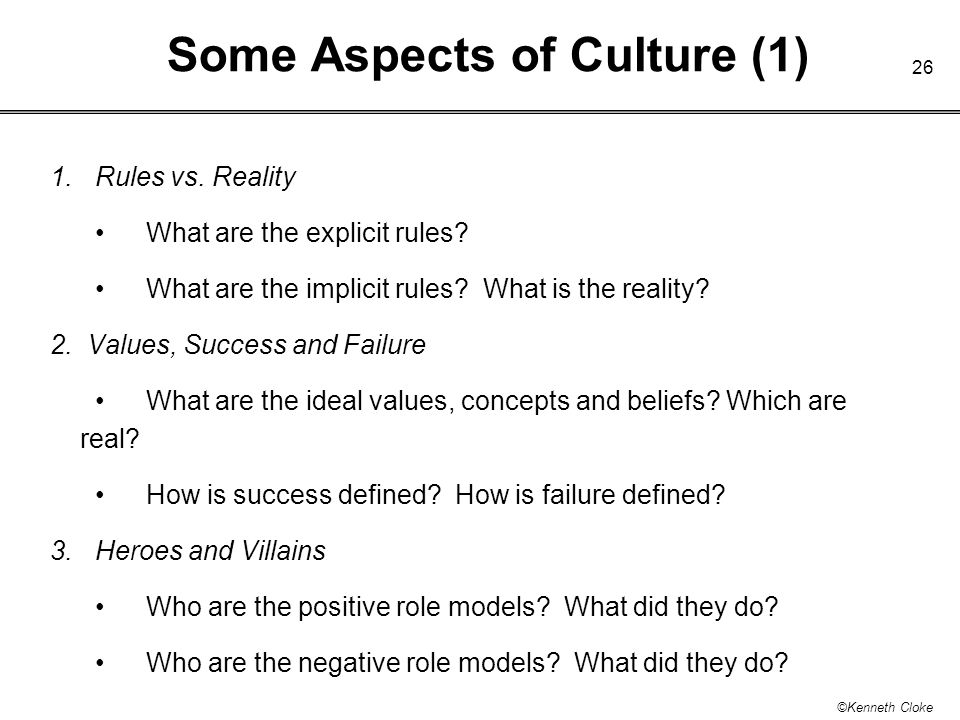 Some Aspects of Culture (1)