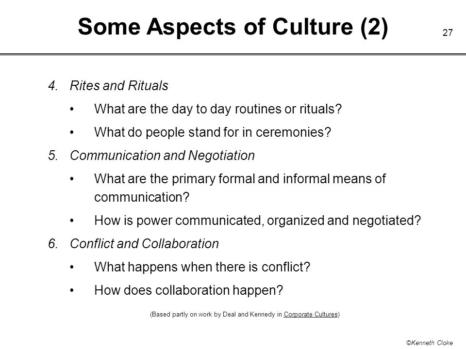 Some Aspects of Culture (2)