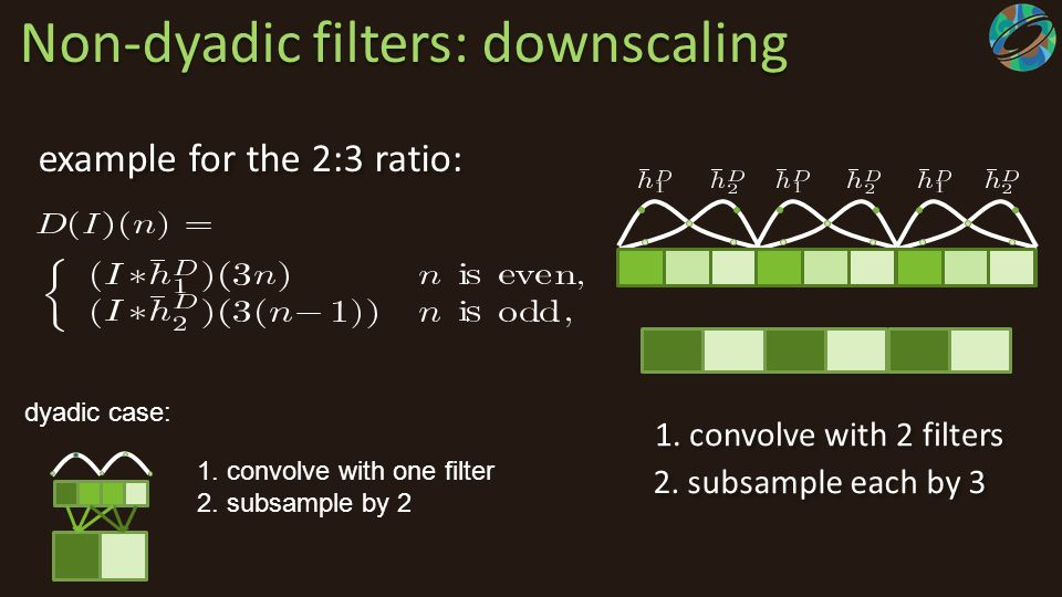 Non-dyadic filters: downscaling