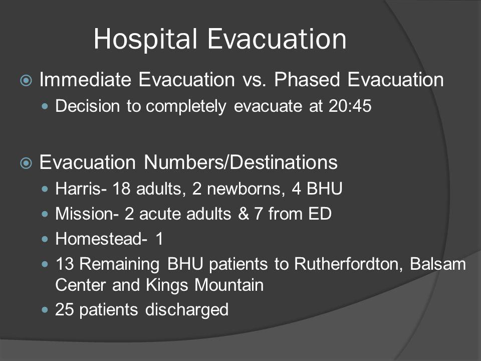 Hospital Evacuation Immediate Evacuation vs. Phased Evacuation