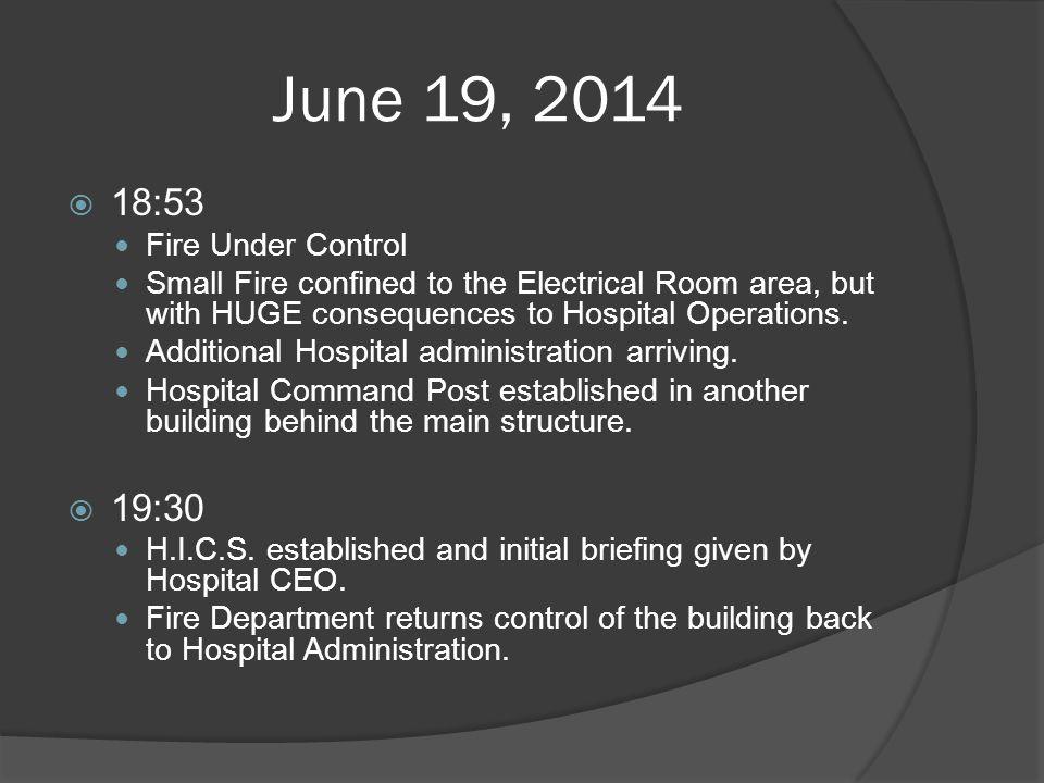 June 19, 2014 18:53 19:30 Fire Under Control