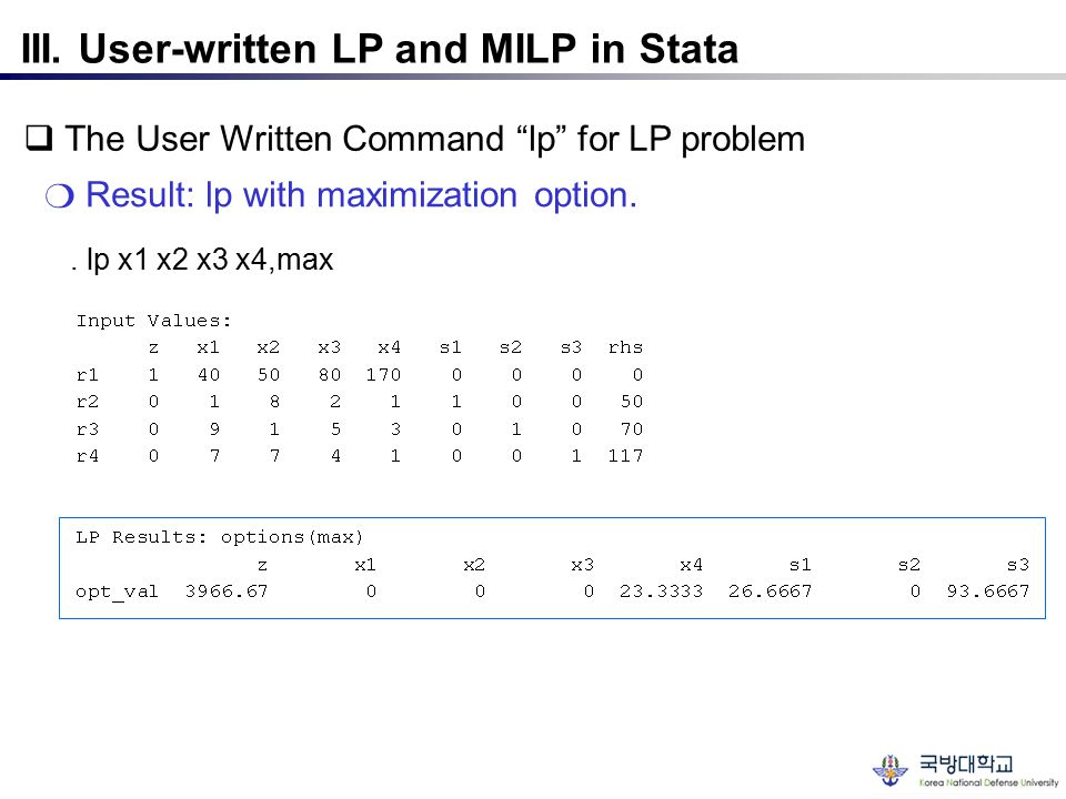 III. User-written LP and MILP in Stata