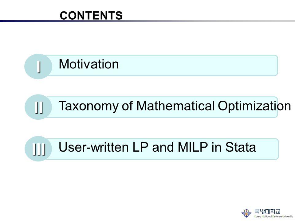 I II III Motivation Taxonomy of Mathematical Optimization