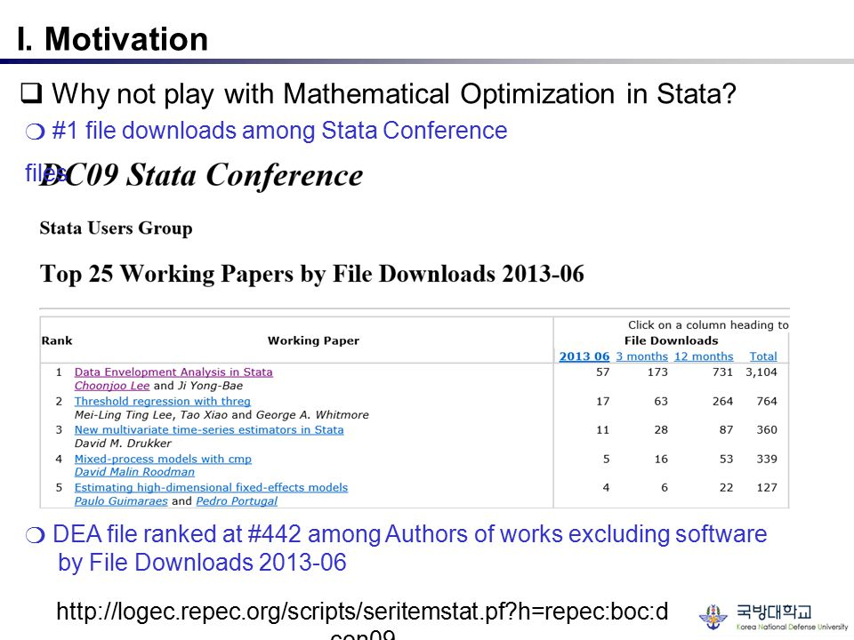 I. Motivation  Why not play with Mathematical Optimization in Stata