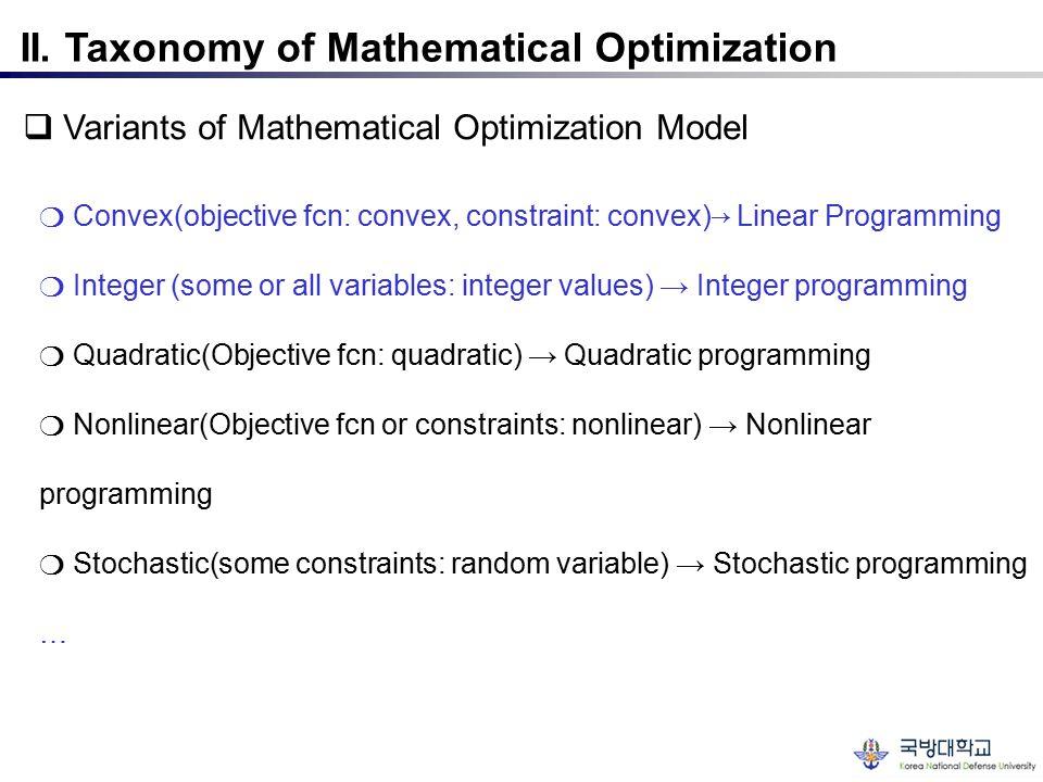 II. Taxonomy of Mathematical Optimization