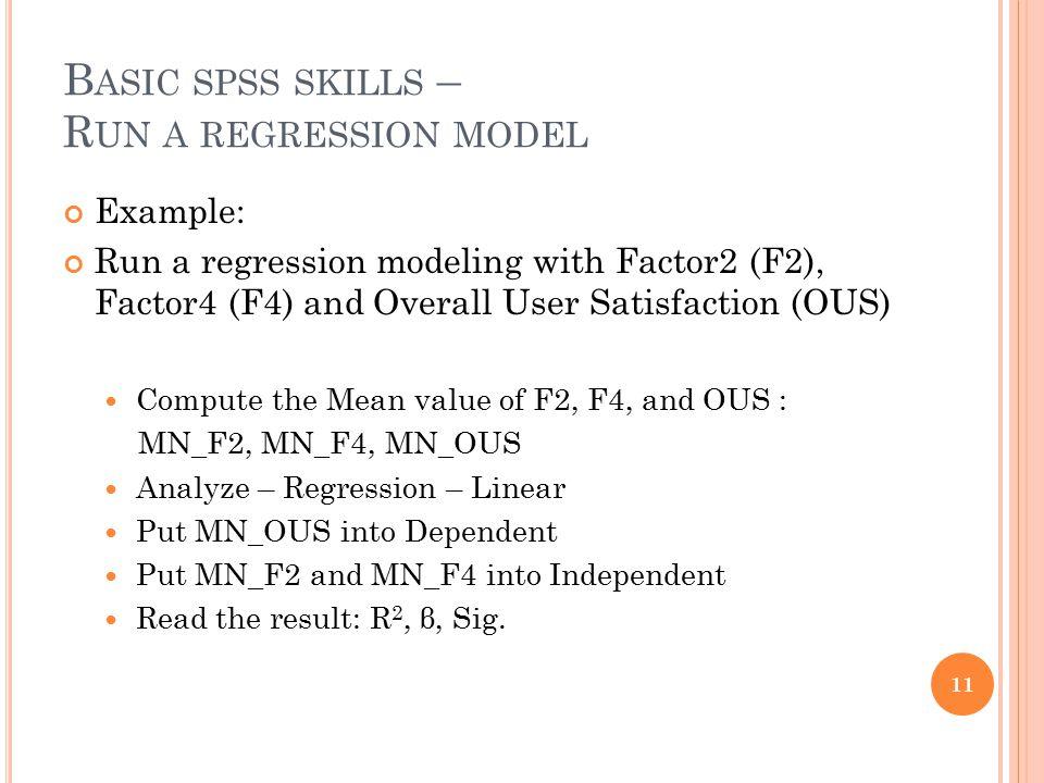 Basic spss skills – Run a regression model