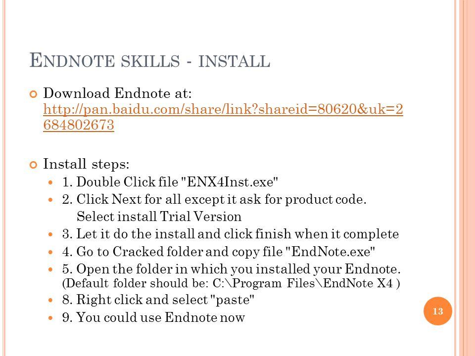 Endnote skills - install