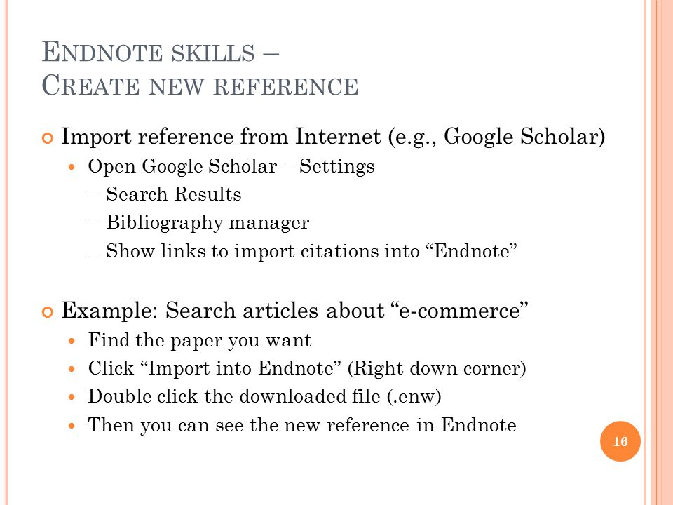 Endnote skills – Create new reference