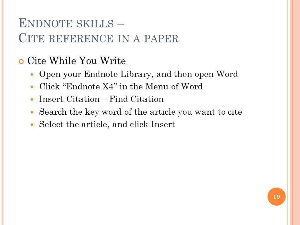 Endnote skills – Cite reference in a paper