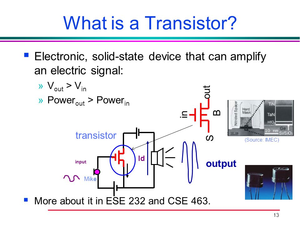What is a Transistor Electronic, solid-state device that can amplify an electric signal: Vout > Vin.