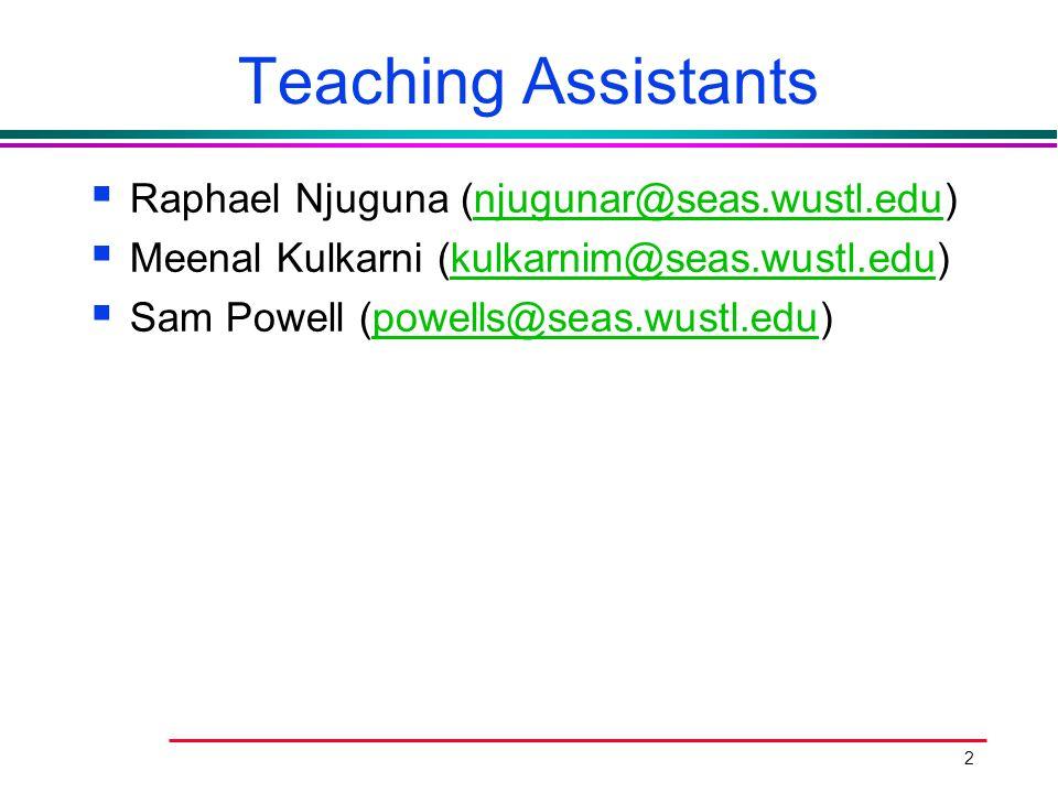 Teaching Assistants Raphael Njuguna (njugunar@seas.wustl.edu)