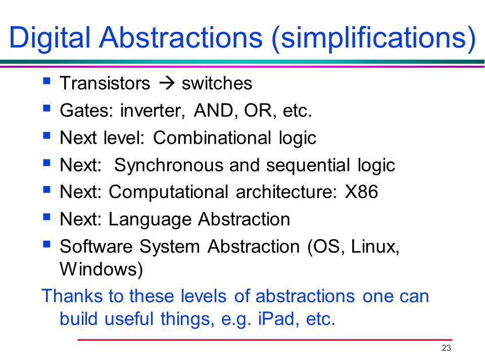 Digital Abstractions (simplifications)