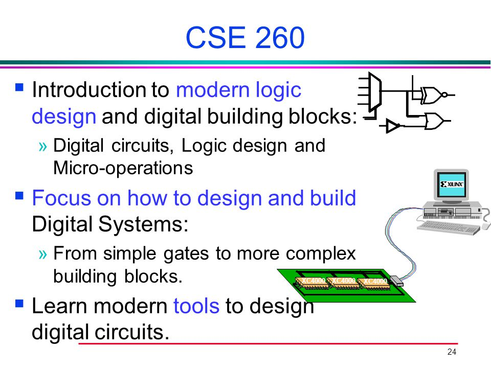 CSE 260 Introduction to modern logic design and digital building blocks: Digital circuits, Logic design and Micro-operations.