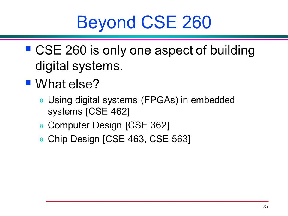 Beyond CSE 260 CSE 260 is only one aspect of building digital systems.