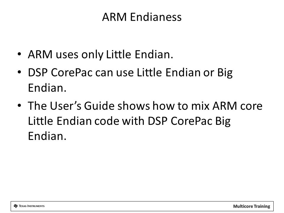 ARM Endianess ARM uses only Little Endian. DSP CorePac can use Little Endian or Big Endian.