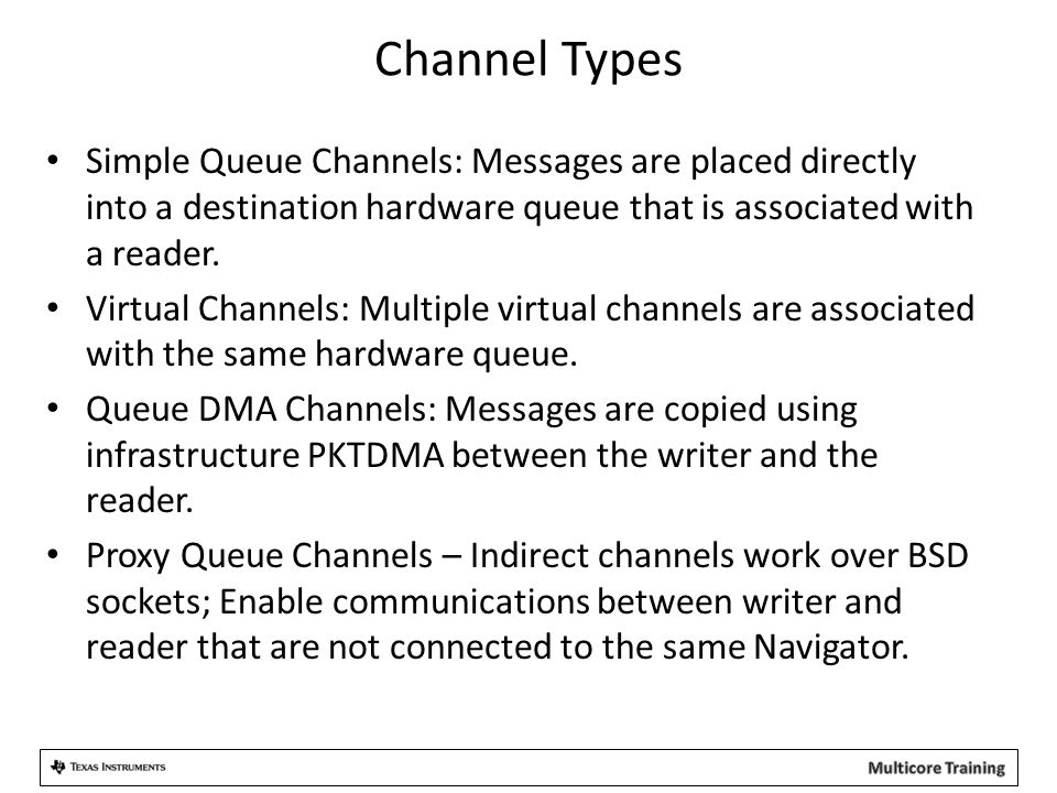 Channel Types Simple Queue Channels: Messages are placed directly into a destination hardware queue that is associated with a reader.