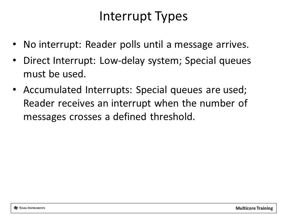 Interrupt Types No interrupt: Reader polls until a message arrives.