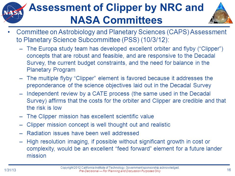 Assessment of Clipper by NRC and NASA Committees
