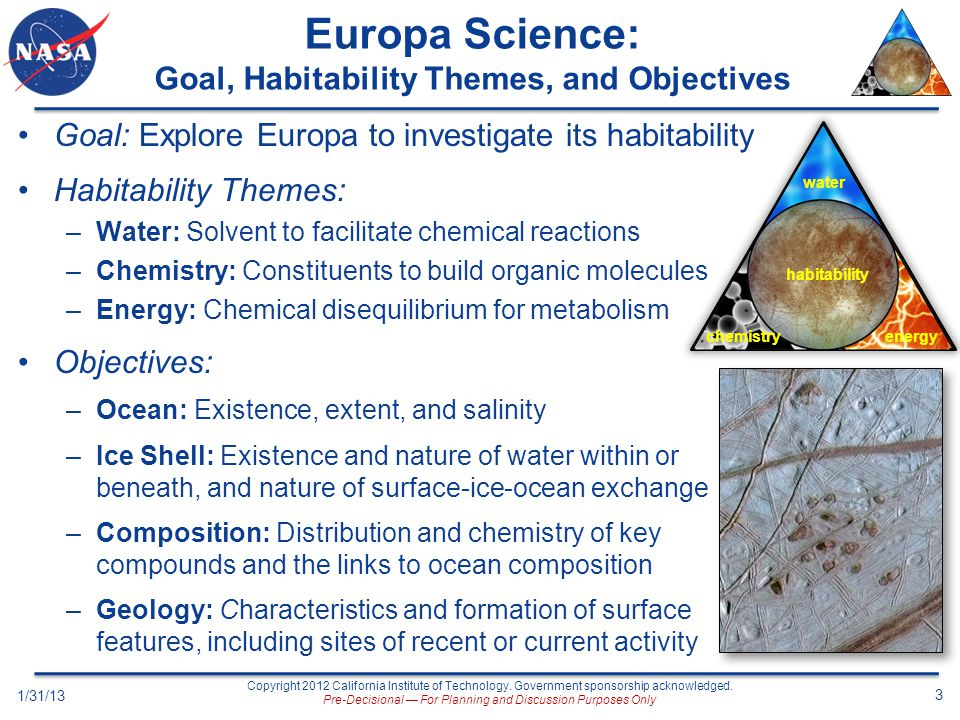 Europa Science: Goal, Habitability Themes, and Objectives