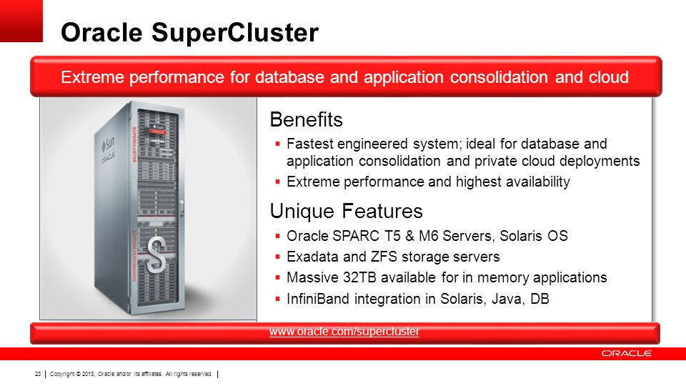 Oracle SuperCluster Benefits Unique Features