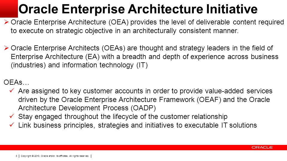 Oracle Enterprise Architecture Initiative