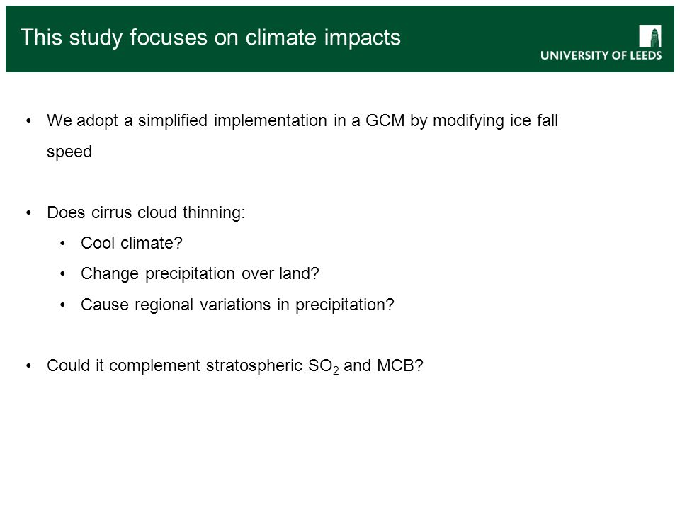 This study focuses on climate impacts