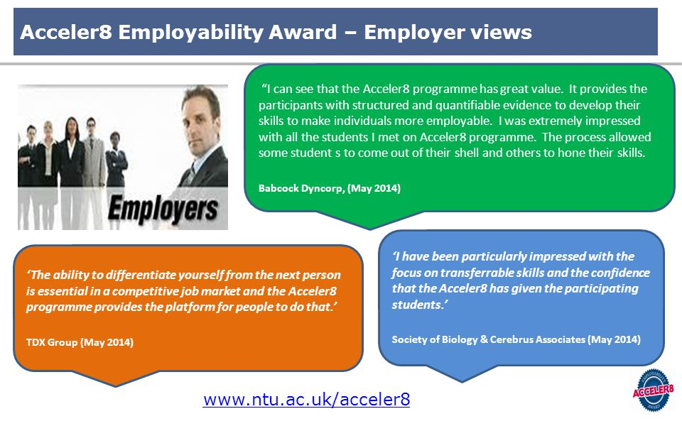 Acceler8 Employability Award – Employer views