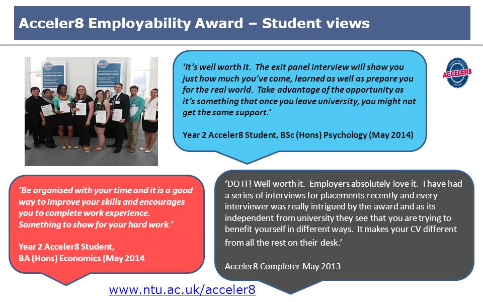 Acceler8 Employability Award – Student views