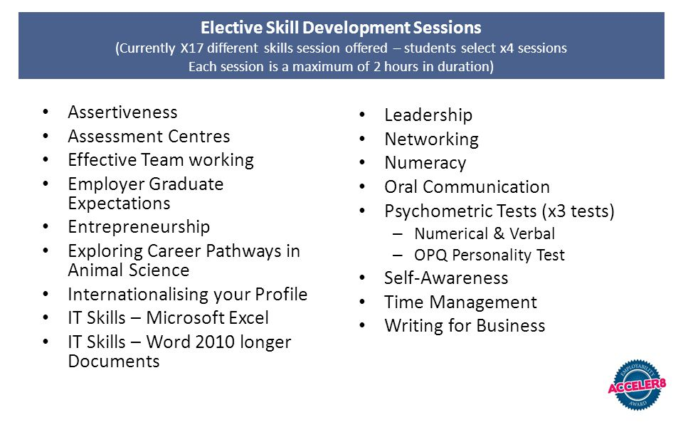 Elective Skill Development Sessions