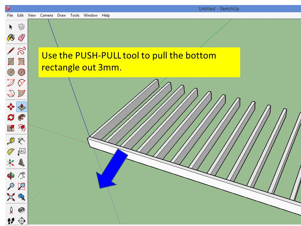 Use the PUSH-PULL tool to pull the bottom rectangle out 3mm.