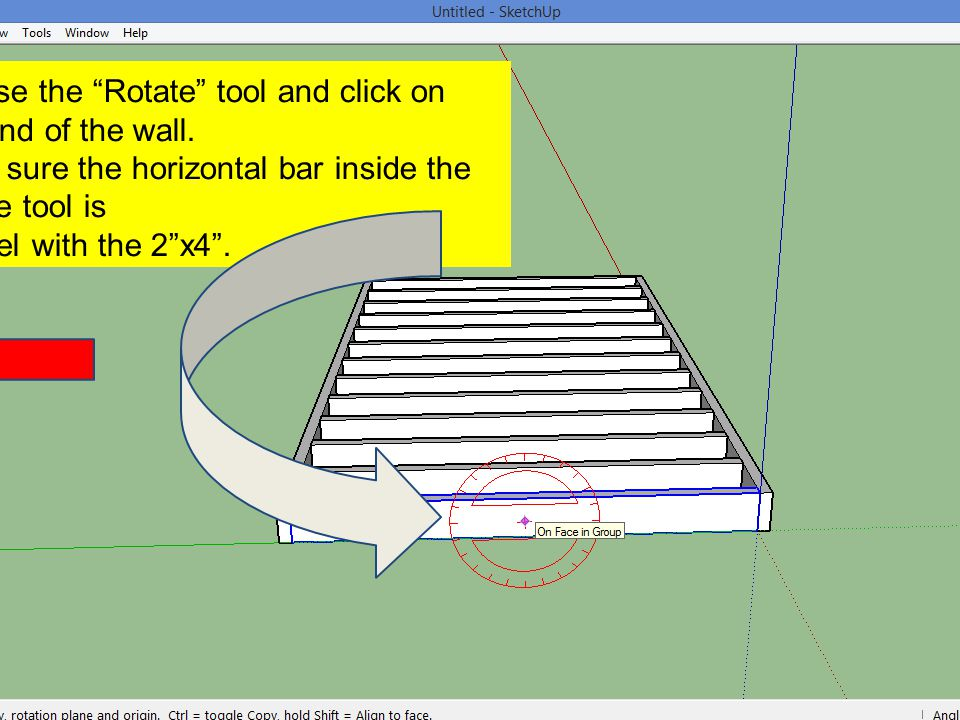 Choose the Rotate tool and click on one end of the wall