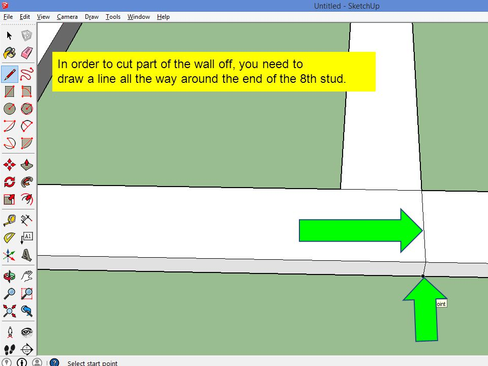 In order to cut part of the wall off, you need to draw a line all the way around the end of the 8th stud.