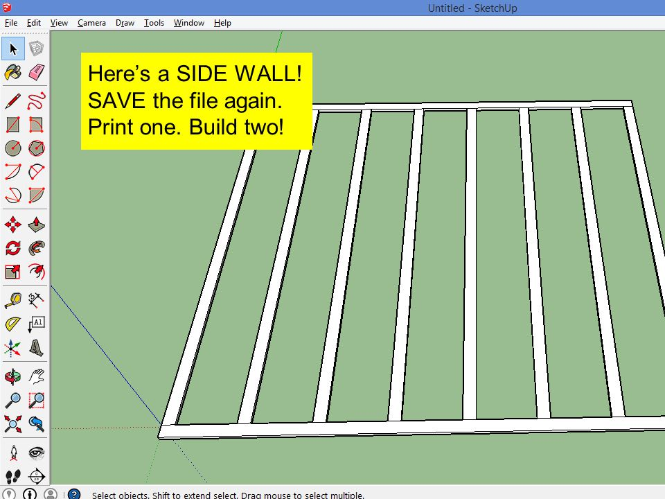 Here's a SIDE WALL! SAVE the file again.