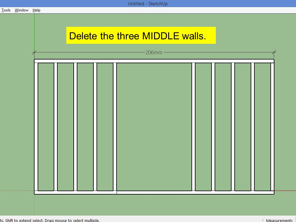 Delete the three MIDDLE walls.