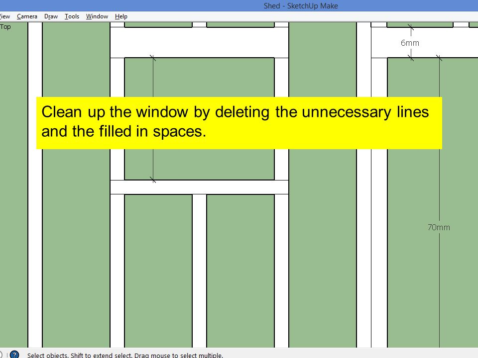 Clean up the window by deleting the unnecessary lines and the filled in spaces.