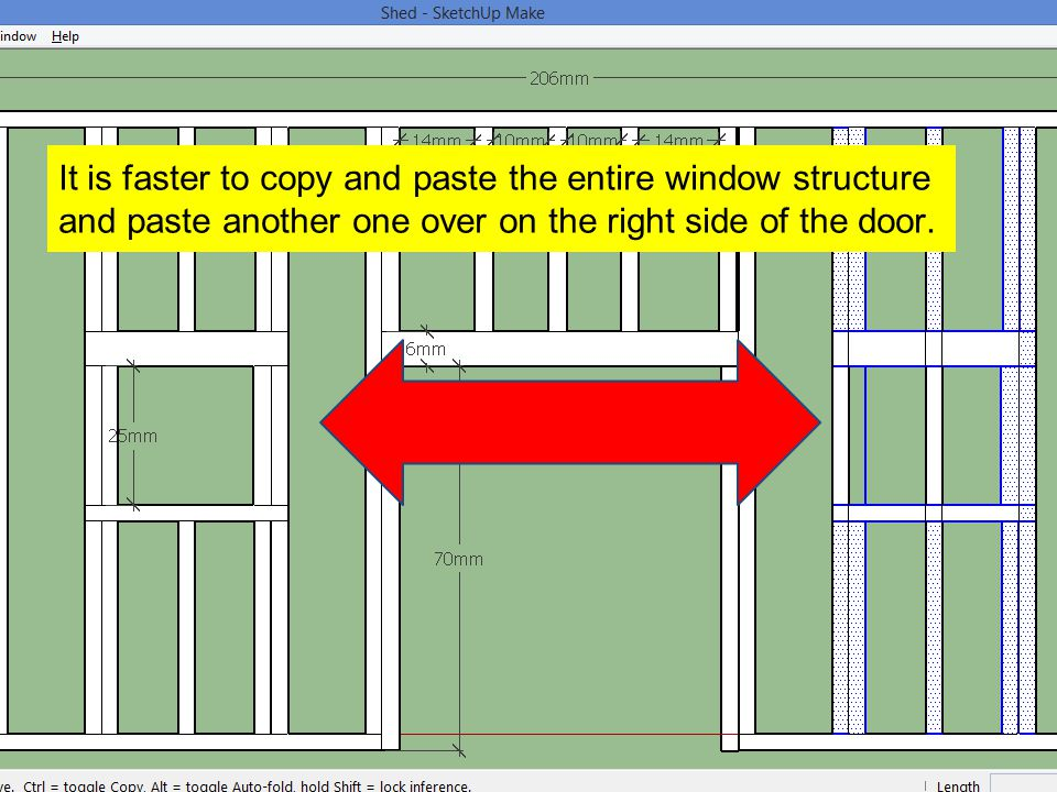 It is faster to copy and paste the entire window structure and paste another one over on the right side of the door.
