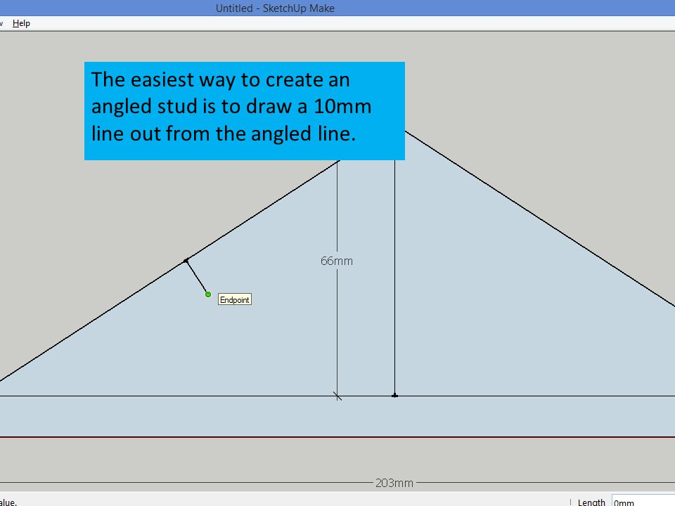 The easiest way to create an angled stud is to draw a 10mm line out from the angled line.