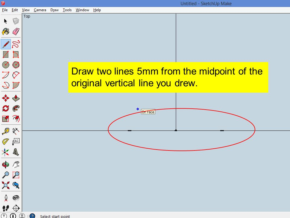 Draw two lines 5mm from the midpoint of the original vertical line you drew.