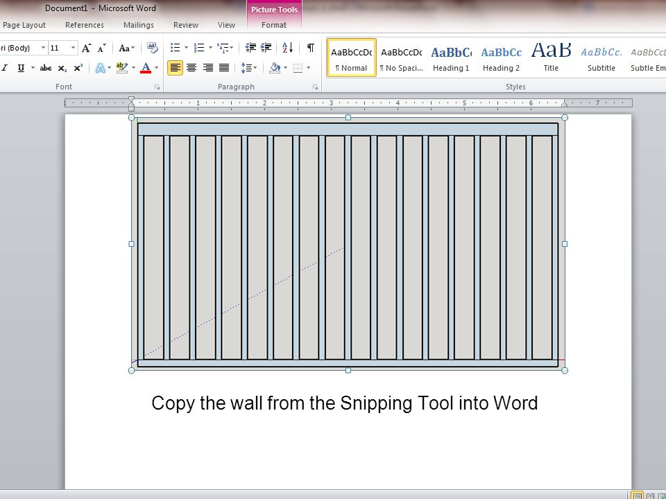 Copy the wall from the Snipping Tool into Word
