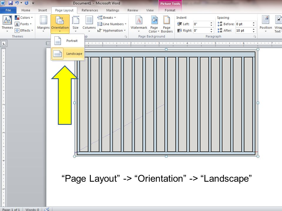 Page Layout -> Orientation -> Landscape