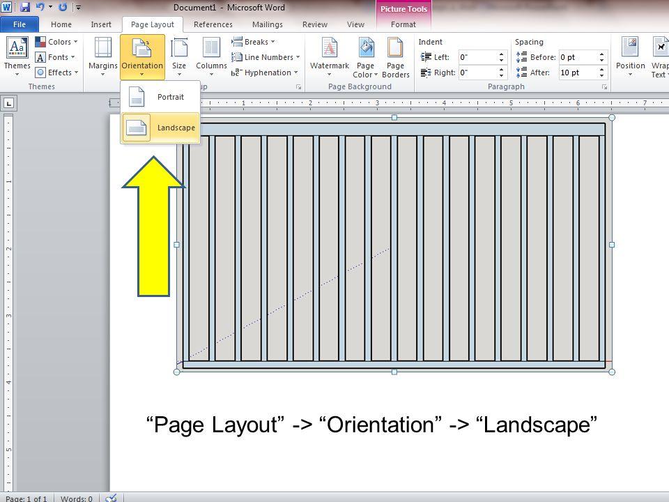 Page Layout -> Orientation -> Landscape