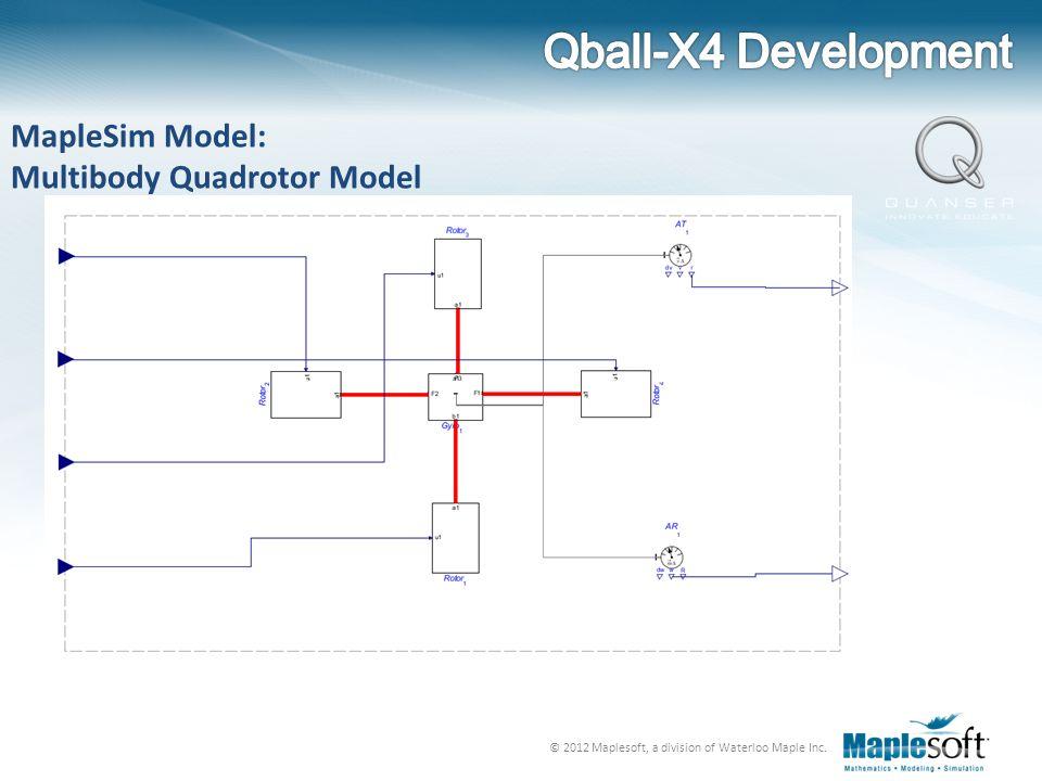 Qball-X4 Development MapleSim Model: Multibody Quadrotor Model