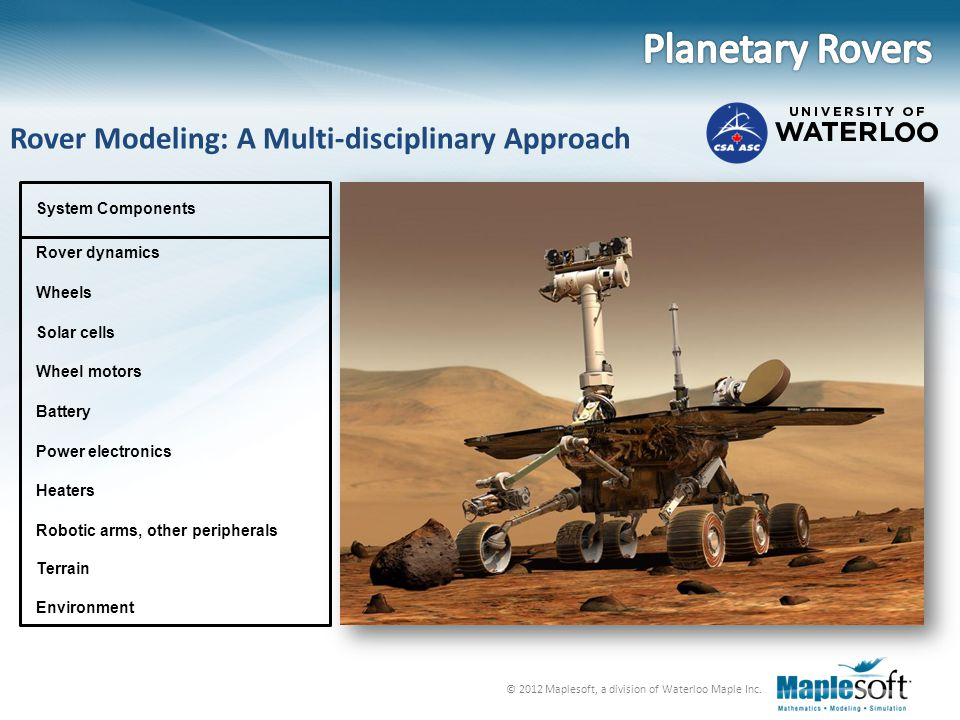 Planetary Rovers Rover Modeling: A Multi-disciplinary Approach