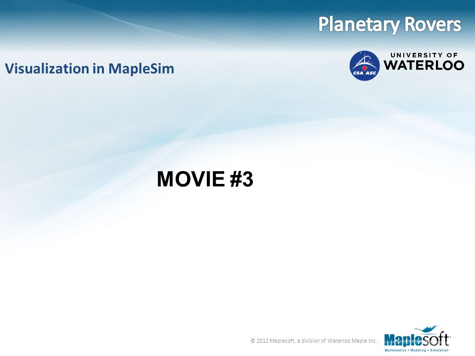 Planetary Rovers Visualization in MapleSim MOVIE #3
